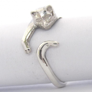 Sterling Silver Wraparound Cat Ring - Goldfish Jewellery Design Studio