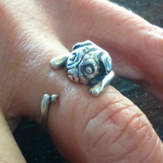 Sterling Silver Wraparound Pug Ring - Goldfish Jewellery Design Studio