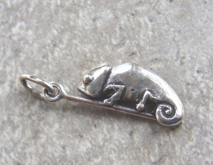 Sterling Silver Chameleon Charm (on pole) - Goldfish Jewellery Design Studio