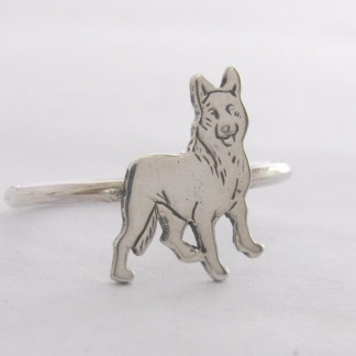 Sterling Silver German Shepherd Stack Ring - Goldfish Jewellery Design Studio
