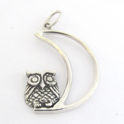 Sterling Silver Owl On Moon Pendant - Goldfish Jewellery Design Studio