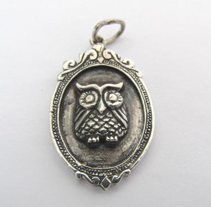Sterling Silver Owl Pendant In Vintage Frame