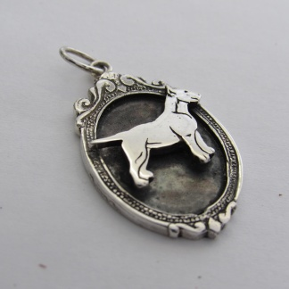 Sterling Silver Bull Terrier Pendant In Vintage Frame - Goldfish Jewellery Design Studio