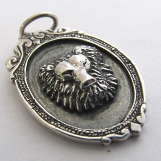 Sterling Silver Leo Lion Head Pendant In Vintage Frame - Goldfish Jewellery Design Studio
