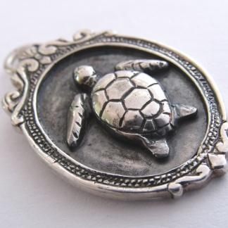 Sterling Silver Turtle Pendant In Vintage Frame