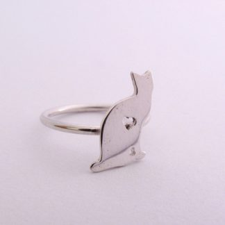 Sterling Silver Cat Stack Ring With Cut-Out Heart - Goldfish Jewellery Design Studio