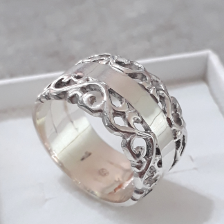 Sterling Silver Split Filigree Ring - Goldfish Jewellery Design Studio