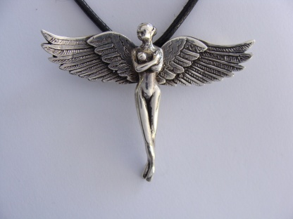 Sterling Silver Fairy Pendant With Bird Wings