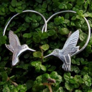 sterling silver hummingbird earrings - goldfish jewellery design studio