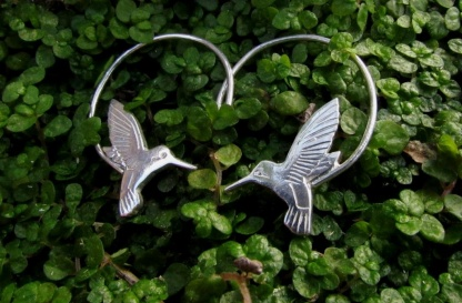 sterling silver hummingbird earrings - goldfish jewellery design studio