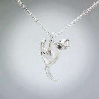 Sterling Silver Hanging Cat Pendant - Goldfish Jewellery Design Studio