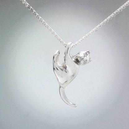 Sterling Silver Hanging Cat Pendant - Goldfish Jewellery Design Studio