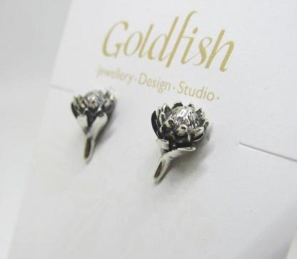Sterling Silver Protea Earrings - Goldfish Jewellery Design Studio