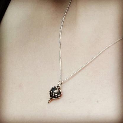 Small Sterling Silver Protea Pendant - Goldfish Jewellery Design Studio