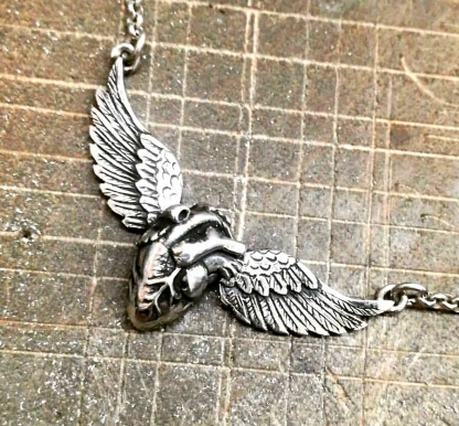 Sterling Silver Anatomical Heart with Wings Neckpiece - Goldfish Jewellery Design Studio