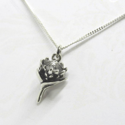 Sterling Silver Small Protea Charm on Chain - Goldfish Jewellery Design Studio