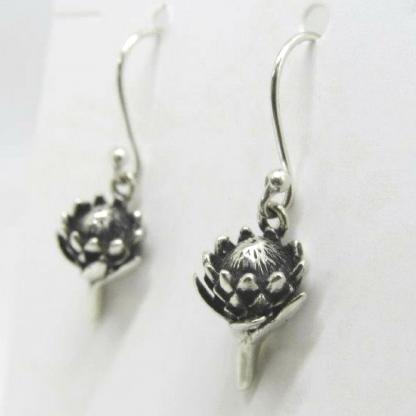 Sterling Silver Small Protea Earrings - Goldfish Jewellery Design Studio