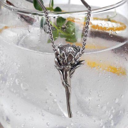 Sterling Silver Protea Pendant - Goldfish Jewellery Design Studio