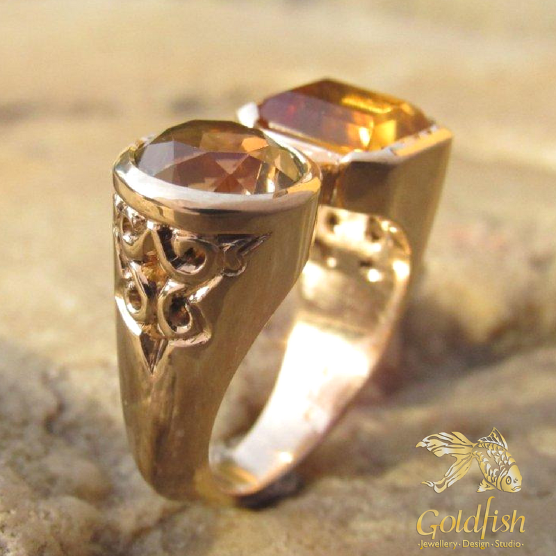 citrine and gold ring - goldfish jewellery design studio