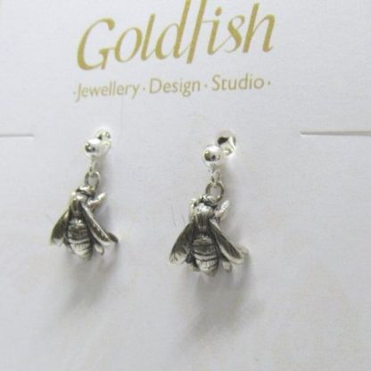Sterling Silver Bee Earrings (balls and pins) - Goldfish Jewellery Design Studio