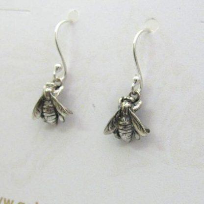 Sterling Silver Bee Earrings (shepherd hooks) - Goldfish Jewellery Design Studio