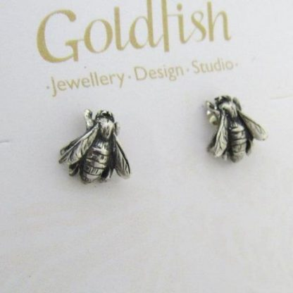 Sterling Silver Bee Earrings (studs) - Goldfish Jewellery Design Studio