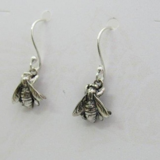Sterling Silver Honey Bee Earrings - hooks - Goldfish Jewellery Design Studio