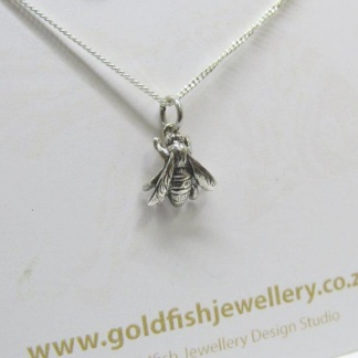 Sterling Silver Honey Bee Pendant - Goldfish Jewellery Design Studio