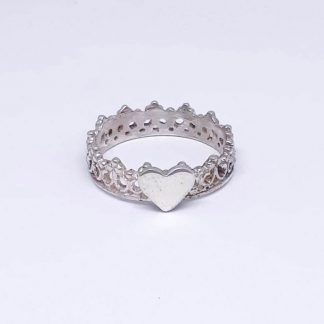 Sterling Silver Princess Crown Heart Stack Ring - Goldfish Jewellery Design Studio
