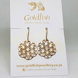 9ct Yellow Gold Flower of Life Earrings - Goldfish Jewellery Design Studio