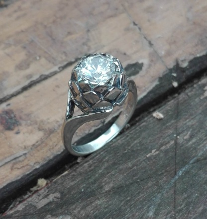 Sterling Silver Large Protea Ring with White CZ - Goldfish Jewellery Design Studio