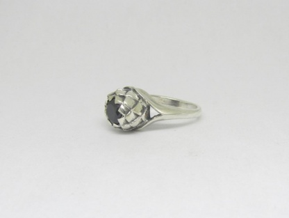 Sterling Silver Large Protea Ring with Black CZ - Goldfish Jewellery Design Studio