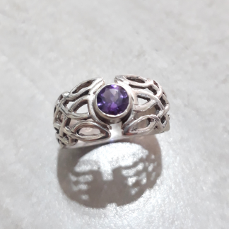 Sterling Silver Celtic Dome Amethyst Ring - Goldfish Jewellery Design Studio