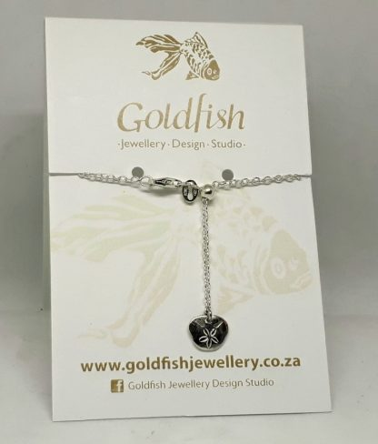 Sterling Silver Small Pansy Shell Charm on Slider Bracelet - Goldfish Jewellery Design Studio