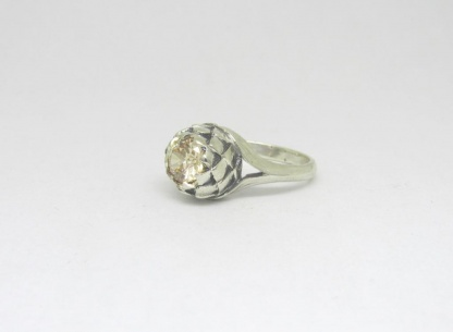 Sterling Silver Large Protea Ring with Champagne CZ - Goldfish Jewellery Design Studio