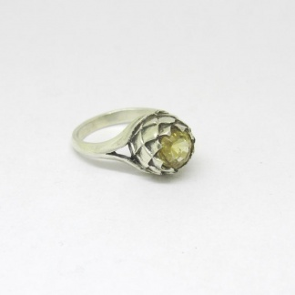 Sterling Silver Large Protea Citrine Ring - Goldfish Jewellery Design Studio