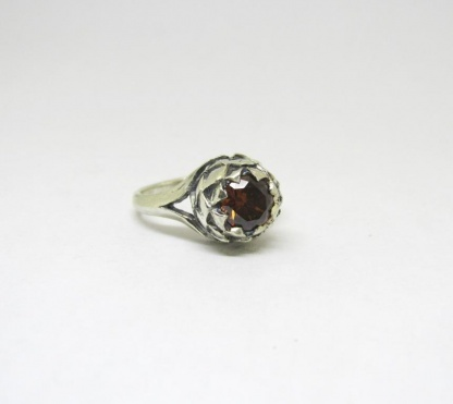 Sterling Silver Large Protea Ring with Coffee CZ - Goldfish Jewellery Design Studio