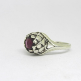 Sterling Silver Large Protea Garnet Ring - Goldfish Jewellery Design Studio