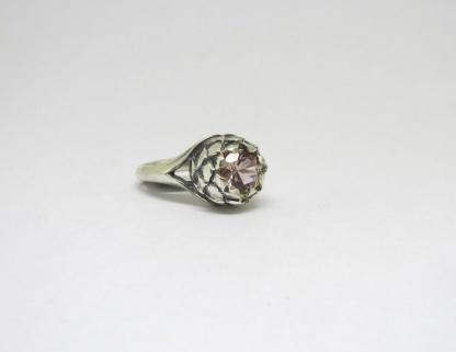 Sterling Silver Large Protea Ring with Nano Morganite - Goldfish Jewellery Design Studio