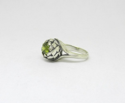 Sterling Silver Large Protea Ring with Olive CZ - Goldfish Jewellery Design Studio