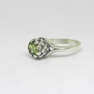 Sterling Silver Small Protea Peridot Ring - Goldfish Jewellery Design Studio