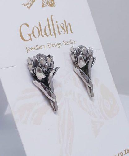 Sterling Silver Large Protea Earrings   Goldfish Jewellery Design Studio
