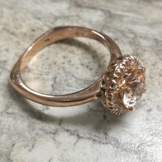 9ct Rose Gold Morganite and Diamond Halo Ring - Goldfish Jewellery Design Studio