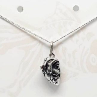 Sterling Silver Anatomical Heart Charm on Chain - Goldfish Jewellery Design Studio