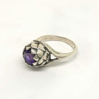Sterling Silver Large Protea Amethyst Ring - Goldfish Jewellery Design Studio