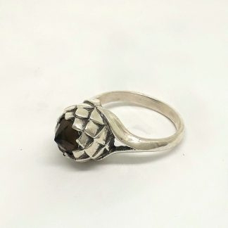 Sterling Silver Large Protea Smokey Topaz Ring - Goldfish Jewellery Design Studio