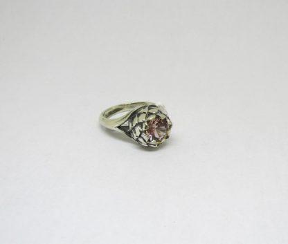 Sterling Silver Small Protea Nano-Morganite Ring - Goldfish Jewellery Design Studio