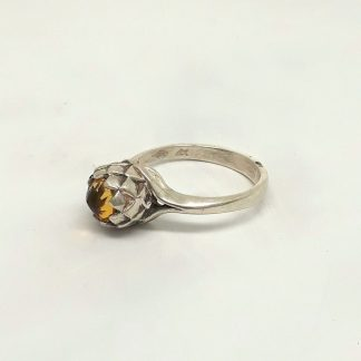 Sterling Silver Small Protea Citrine Ring - Goldfish Jewellery Design Studio