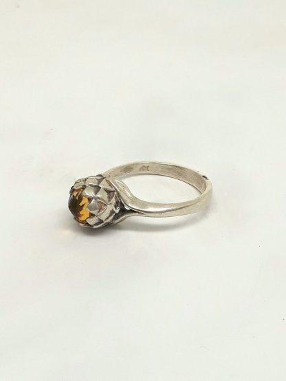 Sterling Silver Small Protea Citrine Ring - Goldfish Jewellery Design Studio