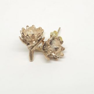9ct Yellow Gold Small Protea Earrings | Goldfish Jewellery Design Studio